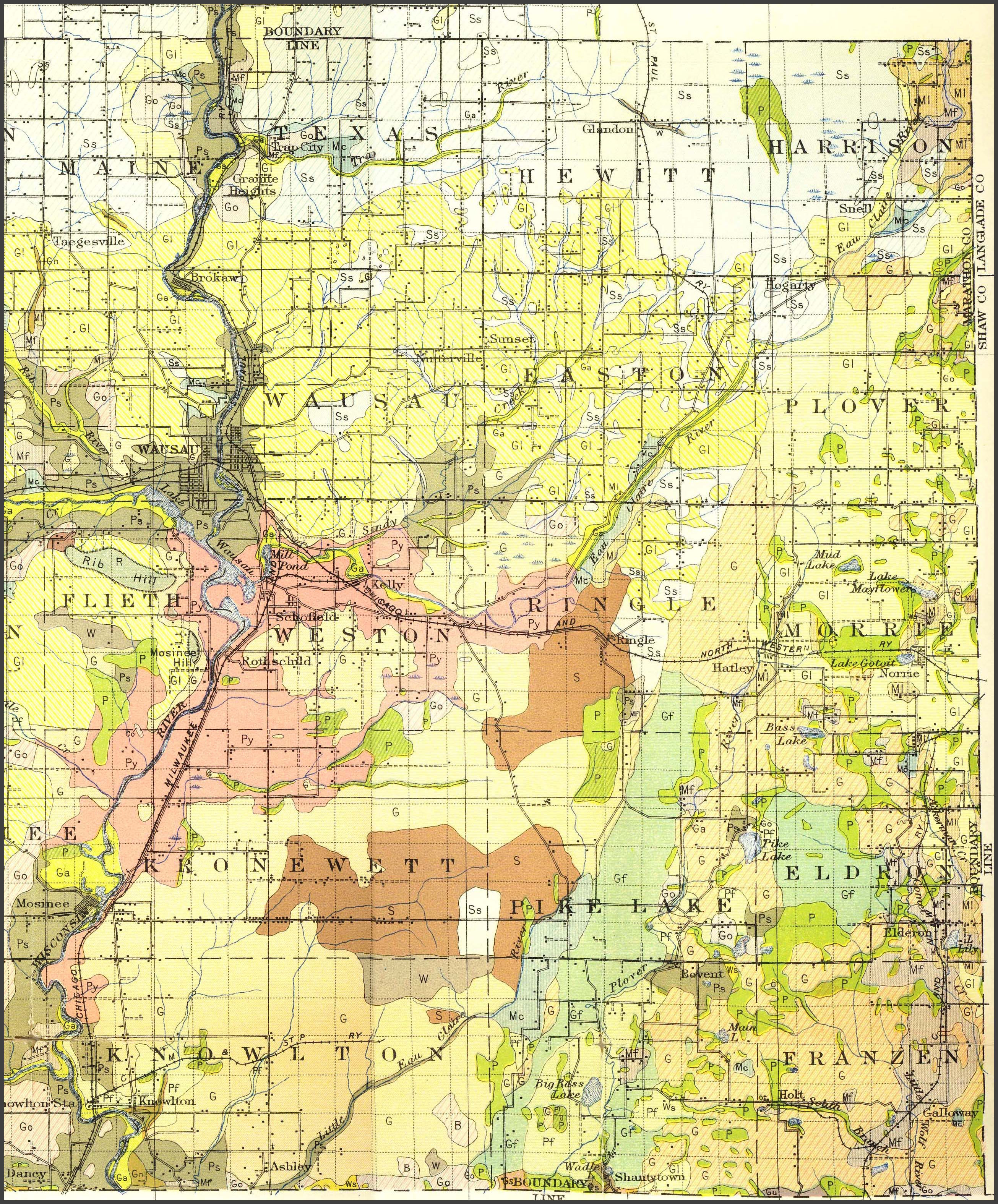 Wisconsin county map early plat maps marinette county sciox Gallery