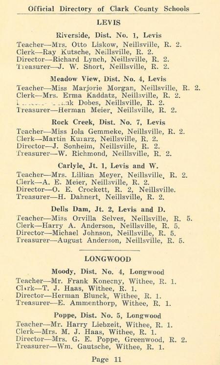 1931 Clark Co , WI School Directory pg  11-14