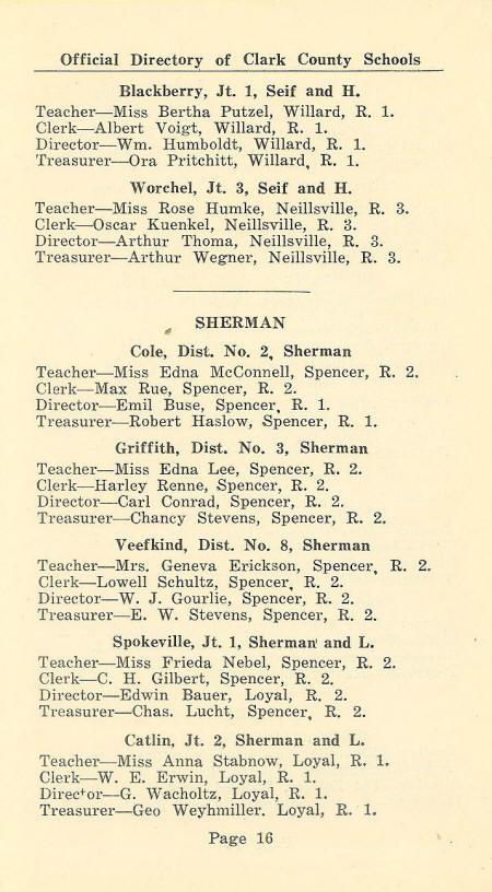 1931 Clark Co , WI School Directory pg  15-18